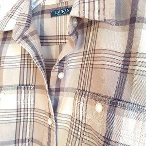 Lauren Cotton Flannel Shirt Tan Plaid Size M